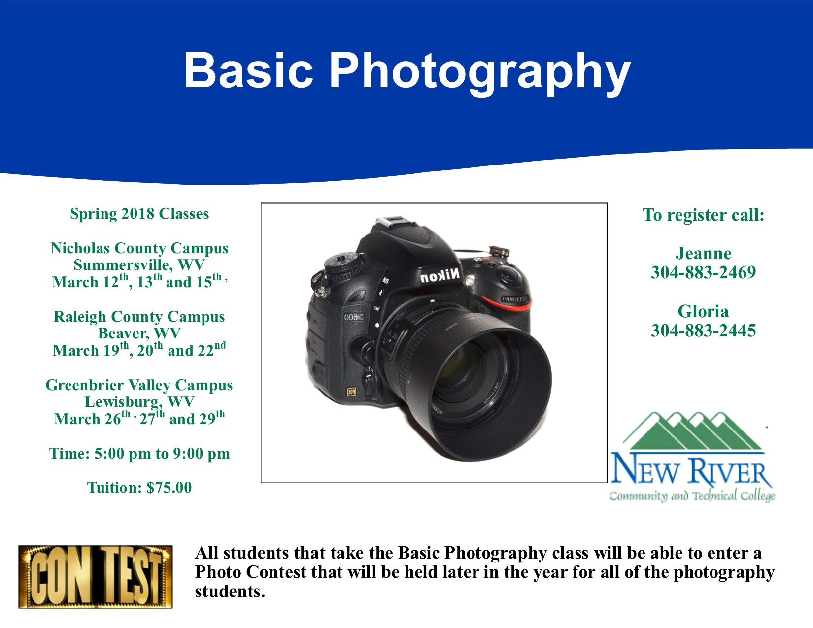 Basic digital photography classes planned - New River