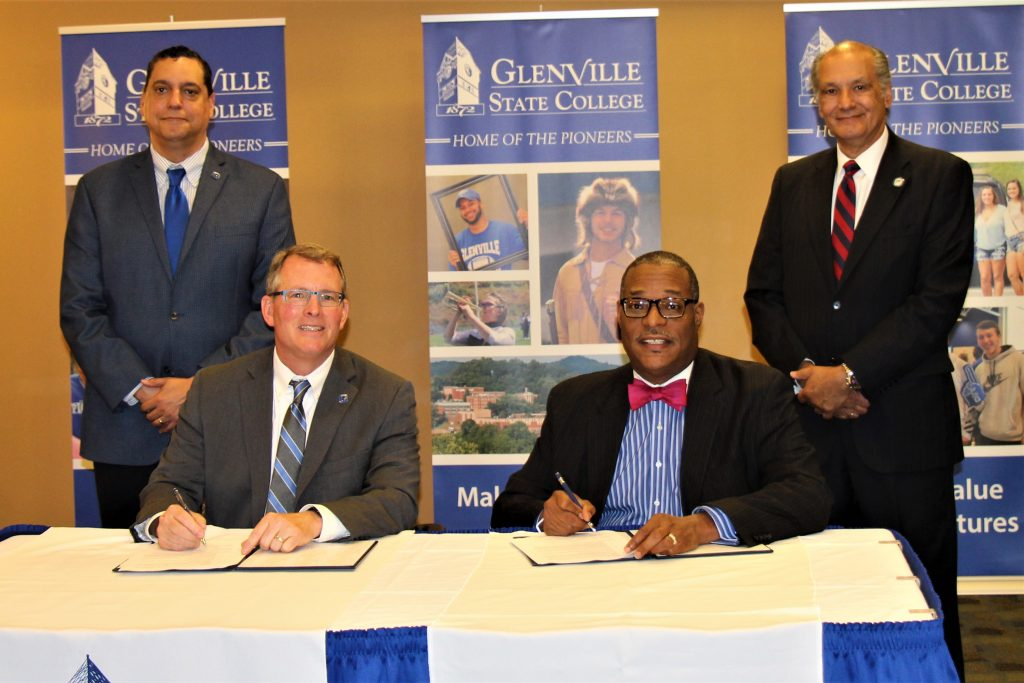 (left to right) Glenville State College Interim Vice President for Academic Affairs Dr. Gary Morris, Glenville State College President Dr. Tracy Pellet, New River CTC President Dr. L. Marshall Washington and New River CTC Vice President for Academic Affairs Dr. Richard Pagan came together on Thursday, May 17 to sign the admissions agreement between the two institutions.