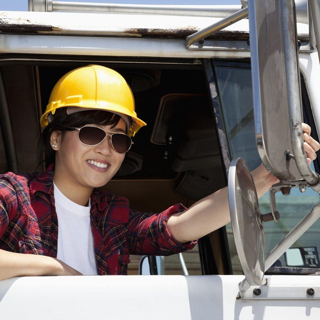 Woman in a truck